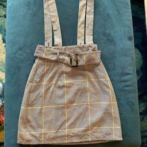 Forever 21 Plaid Suspender Skirt